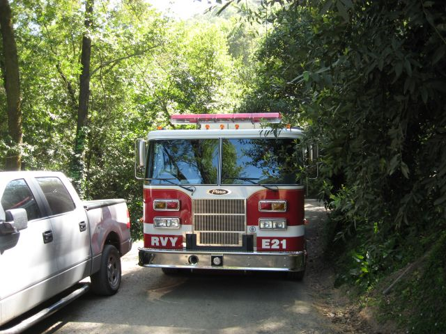 Fire Engines on narrow hillside roads in Fairfax and San Anselmo, CA.